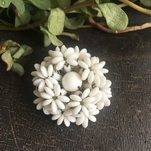 Miriam Haskell Vintage Layered White Flower Pin